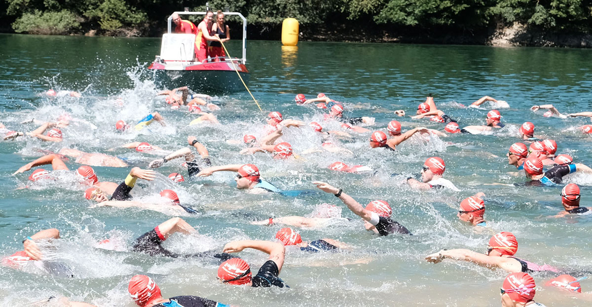 "The swimmers started in the open water of the lake ""Hennesee"" in Meschede, Germany."