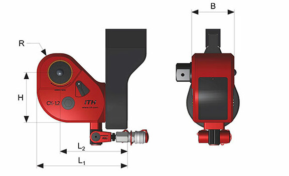Dimensions and indexes of the Hydraulic Torque Wrenches type CX