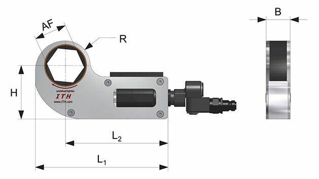 Hydraulic torque wrench low profile type DKS - dimensions