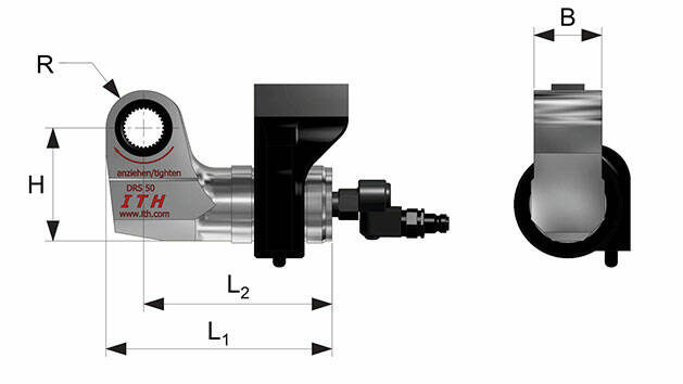 Dimensions and indexes of the hydraulic torque wrench type DRS