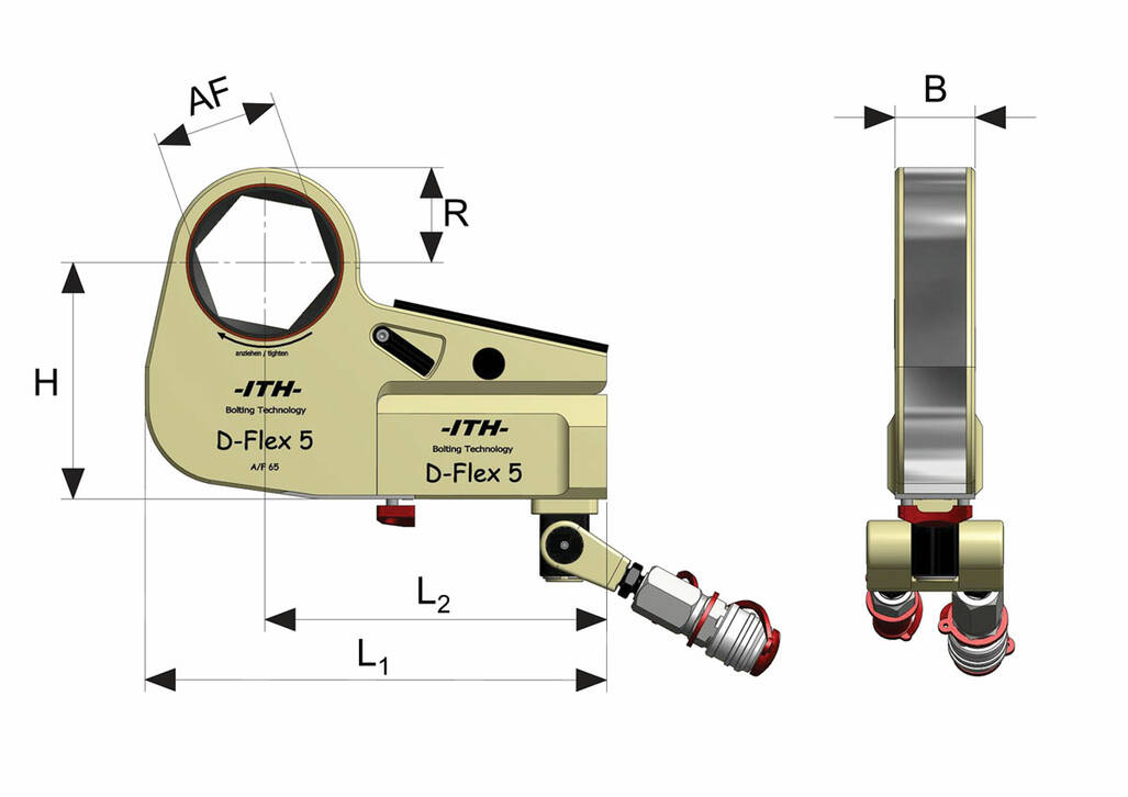 Dimensional drawing of the low-profile hydraulic torque wrench type D-Flex