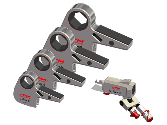 Flexible design of the cassette-type hydraulic torque wrench: One cylinder unit runs up to 8 cassettes.
