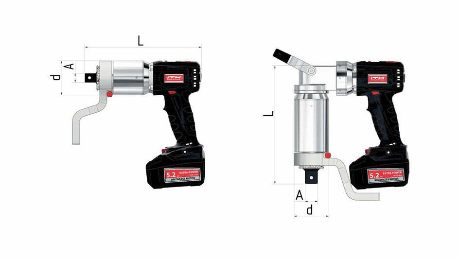 Технические чертежи и размеры работающего от аккумуляторной батареи динамометрического гайковерта ITH типа ADS