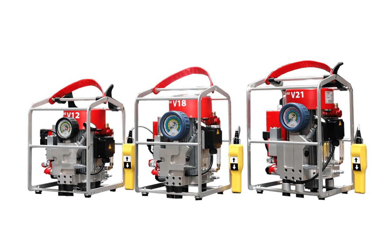 The new high-pressure pump series ITH-Hydro-DAX-V for hydraulic torque wrenches and general-purpose hydraulic jacks is available in three power classes: V12, V18, and V21.