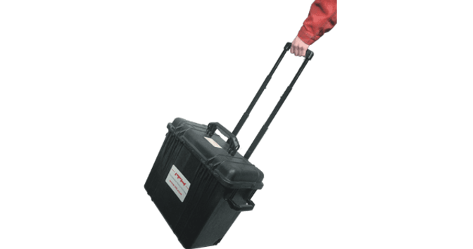 Transport trolley with telescopic arm